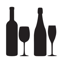Illustration of siluettes of bottles and glasses of wine and sha
