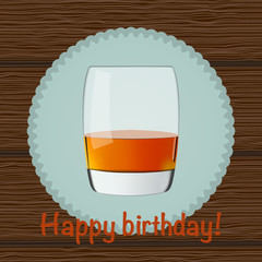 """Illustration of glass of whiskey on wood background with text """"H"""