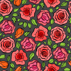 Seamless pattern with leafs and red roses in vintage style. Vect