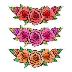 Set of beautiful floral elements. Red, pink and orange roses. Ca
