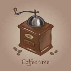 Vector illustration of coffee mill