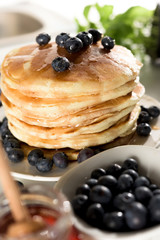 Pancakes with maple syrup and blueberry