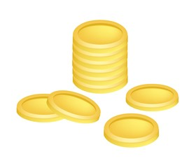 Pile of Golden Coins Money on White Background