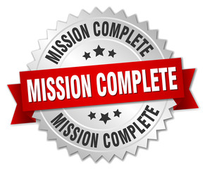 mission complete 3d silver badge with red ribbon