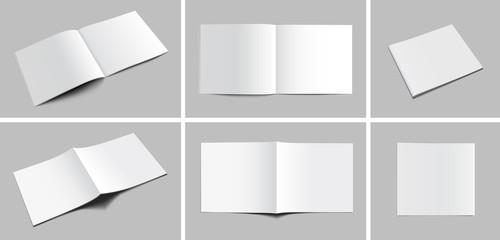 Set of blank magazine, album or book mockup on gray background