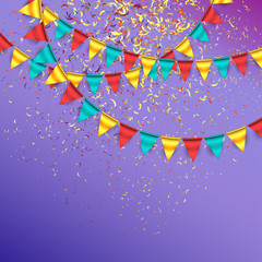 Celebration Background with Confetti and Garlands