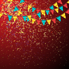 Birthday Background with Bunting Garlands