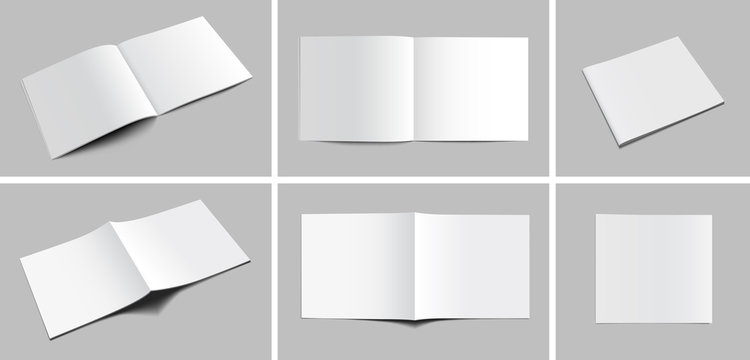 Set of blank magazine, album or book mockup on gray background