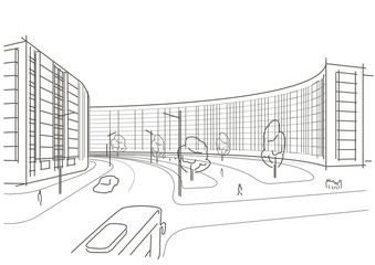 Linear architectural sketch town square