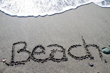 words written on the pebble beach, beach