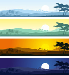 Set of tropical mountain landscapes in various times of day.Vector illustrations.