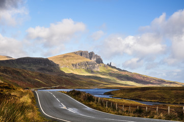 "Stunning photograph showing the Storr, a rocky hill on the Trotternish peninsula of the Isle of Skye. On the right end you can see a rock needle called ""The Old Man Of Storr""."