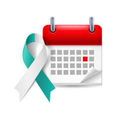 Teal and white awareness ribbon and calendar