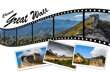 Travel Photo Film Strip of Great Wall of China