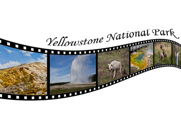 Travel Photo Film Strip of Yellowstone National Park, WY, USA