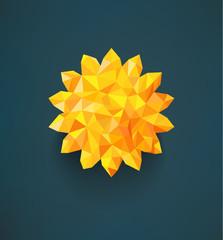 Retro sun made of triangles. Label design. Summer template.