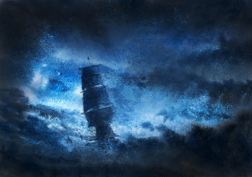 sailboat in night storm