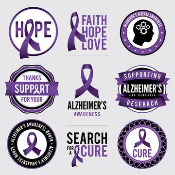 Alzheimer's Disease Awareness Badges Illustration