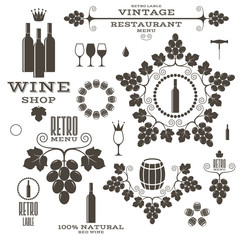 Wine. Vintage. Isolated labels and icons