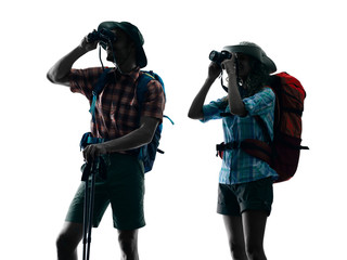 couple trekker trekking nature silhouette Photographing