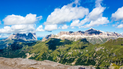 panoramic view of the groups of Sella and Langkofel, massifs in