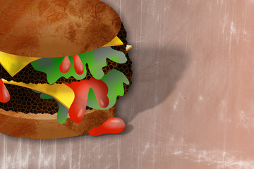 Digitally painted double cheese burger snack with lettuce and ketchup.
