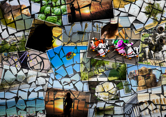 Mosaic collage mix travel in summer 2015 with pictures of different places, landscapes and objects shot by myself textured