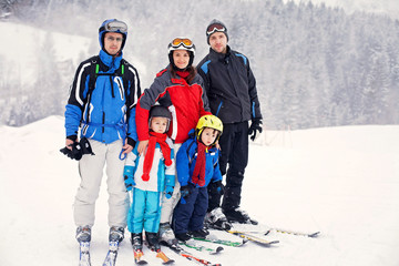 Group of young beautiful people, adults and kids, skiing