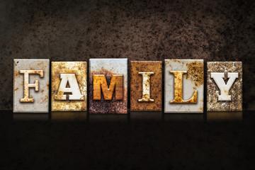 Family Letterpress Concept on Dark Background