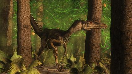 Velociraptor dinosaur in the forest - 3D render
