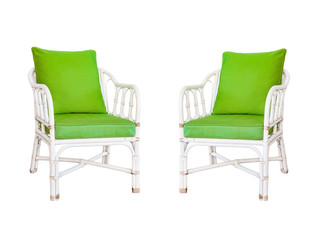 Old wooden chairs isolated on white background