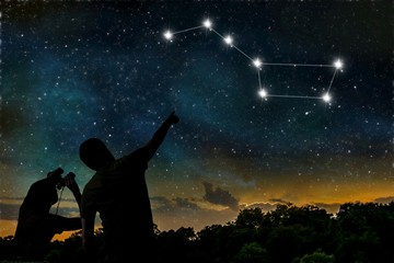 Ursa Major constellation on night sky. Astrology concept. Silhouette of adult man and child observing night sky.