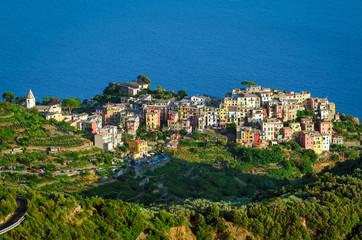 Spoed Foto op Canvas Liguria Corniglia Cinque Terre (Italian Riviera Liguria) and sea