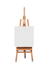 blank canvas on a wooden easel