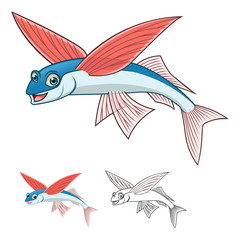 High Quality Flyingfish Cartoon Character Include Flat Design and Line Art Version