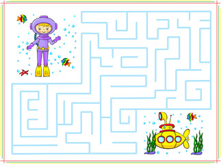 Help the diver go through a maze and find yellow submarine in th