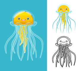 High Quality Jellyfish Cartoon Character Include Flat Design and Line Art Version