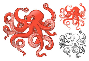 High Quality Octopus Cartoon Character Include Flat Design and Line Art Version