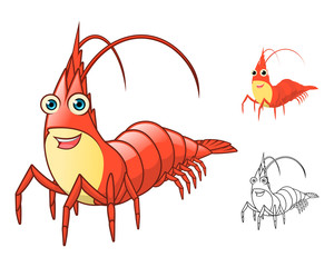 High Quality Shrimp Cartoon Character Include Flat Design and Line Art Version