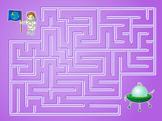 Help astronaut to find way to the flying saucer and find spacesh