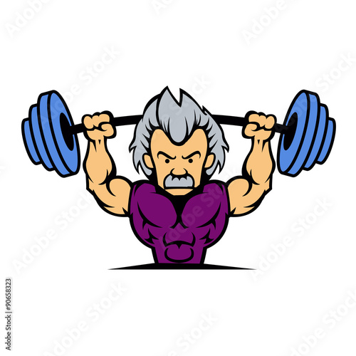 U0026quot Old Man Lifting Weights Cartoon U0026quot  Stock Image And Royalty
