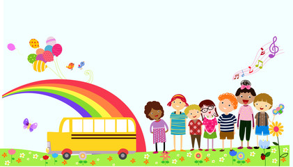 illustration of a school bus and kids school