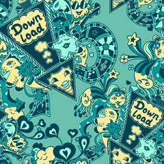 Seamless pattern with doodle monsters marine blue