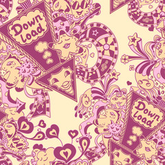 Seamless pattern with doodle monsters pink