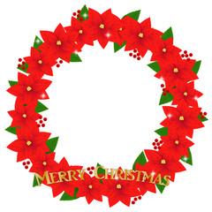 クリスマスリース、リース、ポインセチア、赤、花、装飾、飾り、フレーム、枠