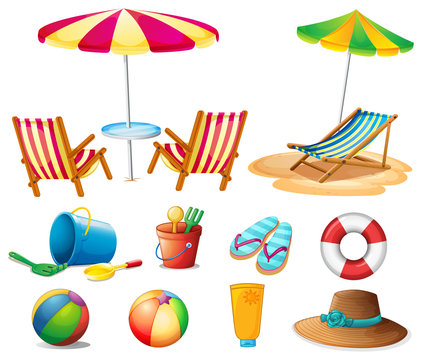 Beach objects and toys