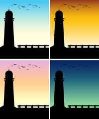 Silhouette lighthouse with different time of day