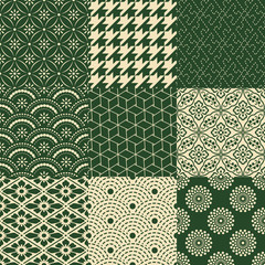 seamless traditional japanese mesh and floral pattern