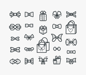 Set of line outline icons with bows and gifts