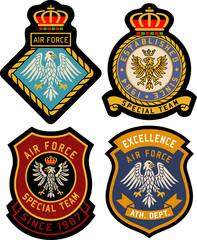 classic royal emblem heraldic badge set